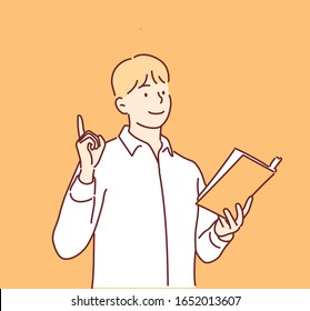 Man reading a book. Hand drawn style vector design illustrations.