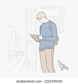 A man was reading a book on the street, and the dove came close. hand drawn style vector design illustrations.
