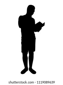 The man is reading book silhouette vector, Education concept, Person in black and white