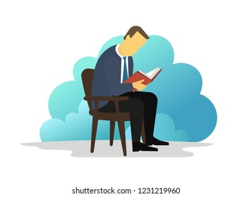 Man reading book sitting on chair. eBook reader. Electronic book Library information.
