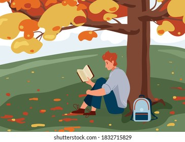 Man reading book vector background. Male character comfortable sitting on the grass under big tree with backpack and read literature. Cozy modern autumn illustration. Concept design of reader outside.