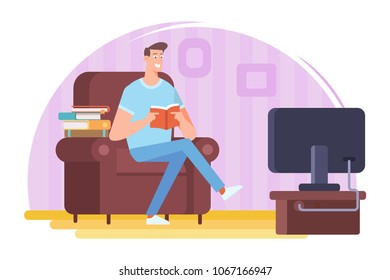 Man reading the booksitting in a chair. Love reading.  Cartoon flat vector illustration isolated on white background.