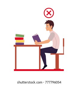 Man reading in incorrect sitting position - table too far, shoulders rolled forward, back hunched, cartoon vector illustration isolated on white background. Incorrect sitting position infographics