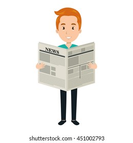 Man reading newspaper cartoon design, vector illustration graphic.
