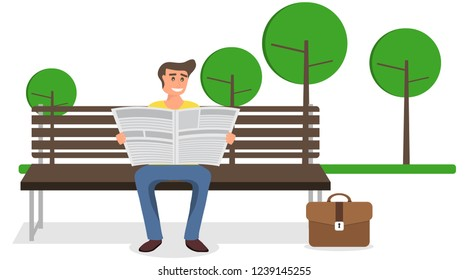 A man reading a newspaper on a bench in the park. A man sits on a bench and reads a newspaper. Vector illustration of a man with a newspaper.
