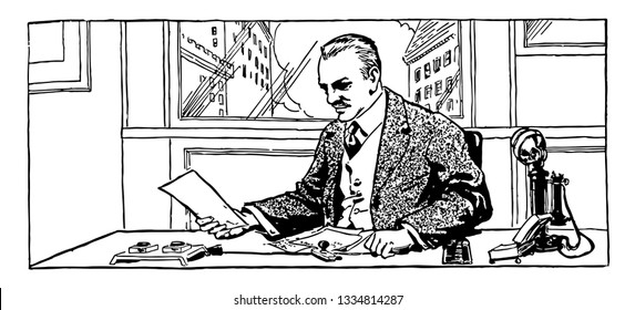 Man Reading Papers at Desk, business, desk, employment, job, livelihood, look, Office, papers, profession, vintage line drawing or engraving illustration.
