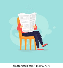 Man reads a newspaper, news. Flat design vector illustration.