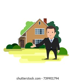 A man is a real estate agent or businessman standing on the background of a two-story house. A hand pointing at him or inviting a gesture to enter the home. Vector illustration on white background