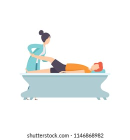 Man receiving leg physical therapy, medical rehabilitation, physical therapy activity vector Illustration