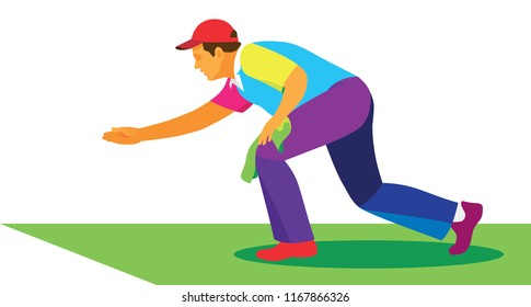 man in red baseball cap play in old british game of bowls on a grass court