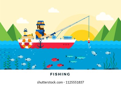 Man in a red boat fishing in the lake at dawn vector flat illustration. Isolated on white background.