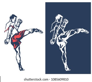 Man in red boxing gloves training, karate fighter banner cartoon kick, woman getting ready for kickboxing
