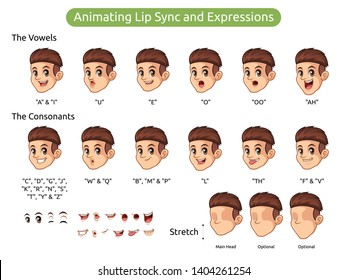 Man with red hair cartoon character design for animating lip sync and expressions, vector illustration.
