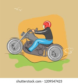 A man in a red helmet rides a motorcycle over rough terrain. Vector illustration
