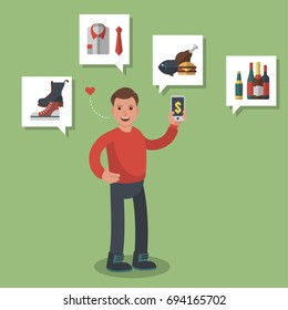 Man in red shirt shopping on-line different goods like groceries, shoes and meats. Colored flat-style illustration on green background