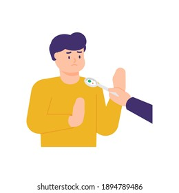 a man refuses a bite of food because he does not want to eat or does not have an appetite. illustrations of people's facial expressions. holding the spoon. feed people. flat style. vector design