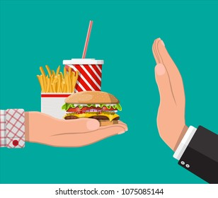 Man refuses take fast food with hand gesture. Rejecting junk food, snacks. Fat, overweight. Cup of cola with fries and cheeseburger. Fastfood. Vector illustration in flat style