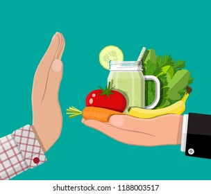 Man refuses take healthy food with hand gesture. Rejecting raw or veggie food. Tray of fresh and healthy vegetables, smoothie. Flat style vector illustration.