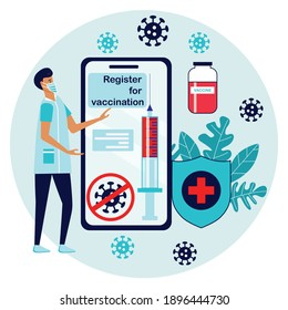 Man registered on smartphone  for vaccination. Online registration button  on website or application. Get vaccine. Coronavirus vaccine vector illustration. Syringe injection tool.