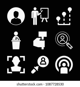 Man related set of 9 icons such as search, people, political candidate speech, male user, presentation, boss, stats