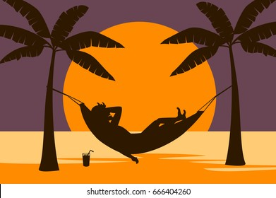 man relaxing in hammock on the beach at sunset silhouette