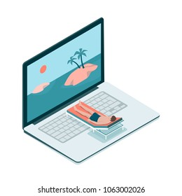 Man relaxing on a deckchair and tropical islands on the computer screen, virtual vacation concept