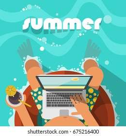Man relaxing on the swim ring and connecting with his laptop. Theme of summer holiday in flat style. Top view.
