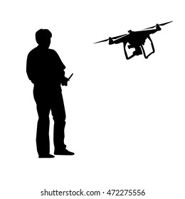 Man with remote control and drone. Quadrocopter silhouette. Flat vector stock illustration