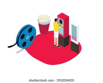 Man renting DVD on the movie rental box machine. Isometric vector concept