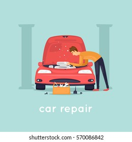 Man repair car. Shop. Flat vector illustration in cartoon style.