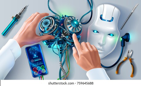 Man repairing robot. Scientist engineer designs brain, settings artificial intelligence humanoid robot. Robot head on your desktop. Hands of the scientist in white coat program cybernetic brain.