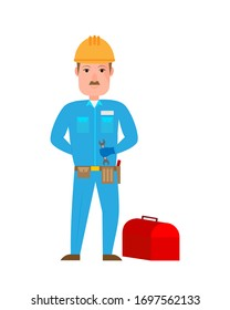 Man repairman worker with tools. Vector Illustration Keywords Work characters. Vector Illustration.