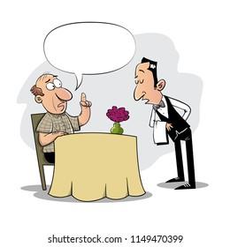 Man in restaurant calling the waiter