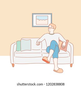 A man is resting comfortably on the sofa. hand drawn style vector design illustrations.