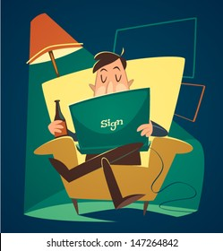 Man resting with a notebook. Household series vector illustration.