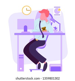 man resting at work, a short break after a long hard work, office worker fell asleep on a break with a soft toy bear,vector image,colorful cartoon character