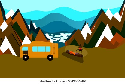 Man rests lying on the wood near the fireplace with travelling trailer behind him, high in the mountains, inspirational landscape over the clouds and snowy peaks