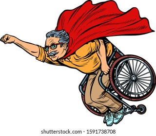 man retired superhero disabled in a wheelchair. Health and longevity of older people. Pop art retro vector illustration drawing vintage kitsch