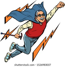 man retired superhero. Health and longevity of older people. Pop art retro vector illustration drawing vintage kitsch