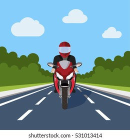 Man Ride Motor Bike on Highway , Sport Motorcycle Over Nature Flat Vector Illustration