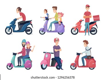 Man ride motorcycle. Fast bike scooter for delivery pizza or food travelers couple driving moped vector pictures