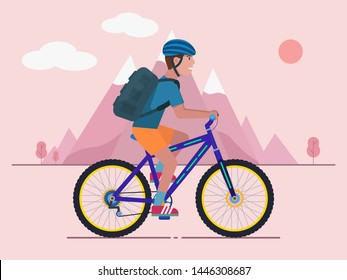 Man rides a bicycle with a backpack behind his back against the backdrop of mountains. Concept of mountain biking. Vector illustration of a flat style.