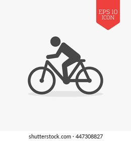 Man rides a bicycle icon. Flat design gray color symbol. Modern UI web navigation, sign. Illustration element