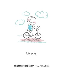 A man rides a bicycle. Illustration.