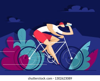 Man rides a bike and drinks water. Sport concept. Vector illustration in flat style