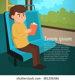 Man rides the bus. Journey. Vector illustration. Cartoon character