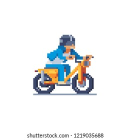 Man rides a moped, motorcyclist male character pixel art style, man character riding motorcycle. Speed ebike racing. Concept of sport life, bikers. Design for logo, sticker, app.Isolated illustration.