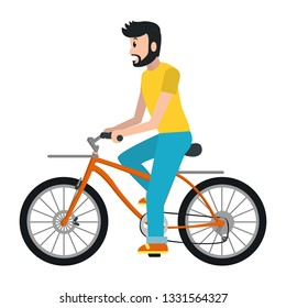 Man riding bicycle cartoon