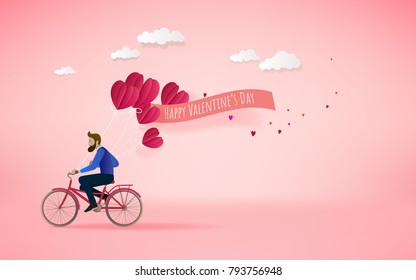 A man riding bicycle  and holding red heart balloons. Love concept. Happy Valentine's Day wallpaper, poster, card. Vector illustration