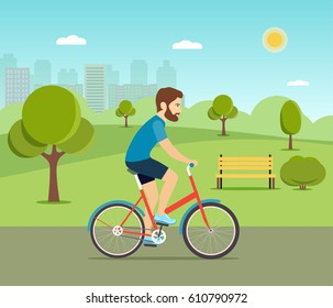Man riding a bicycle in the park. Vector flat illustration